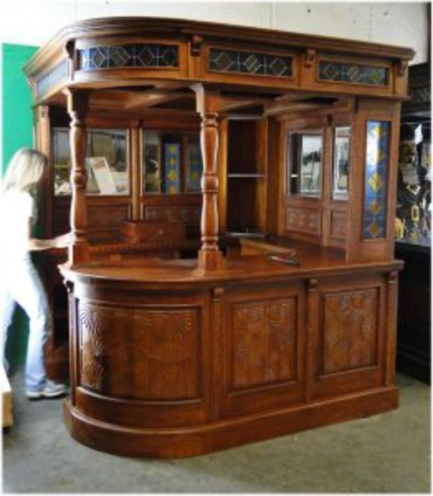 Wood Home Bar Furniture: Hand Carved Solid Mahogany Corner Canopy Bar Furniture