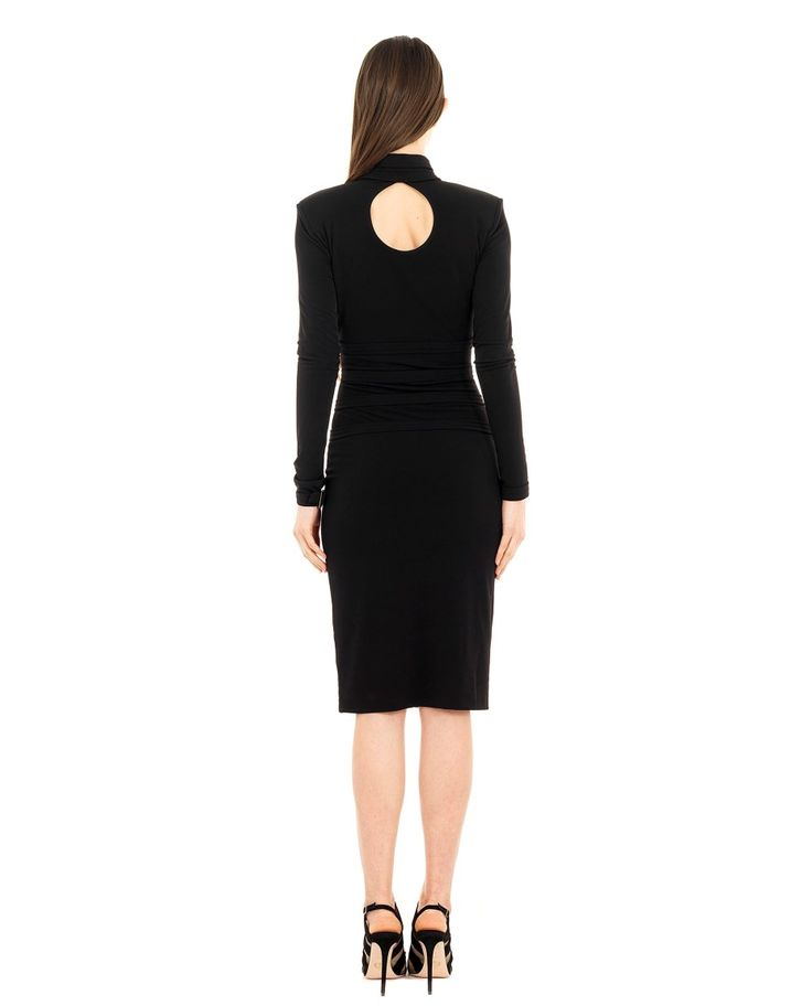 SEN COUTURE DRESS WITH BUCKLES SS 2016 Bodycon dress with buckles  long sleeves  deep keyhole neckline front and back  hidden front zip  fully lined with same fabric  strap and buckle detail on sleeve cuff and on collar  100 % Italian Jersey