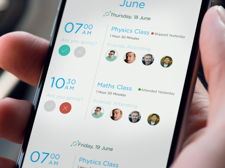 Schedule page educational mobile app by Ved 