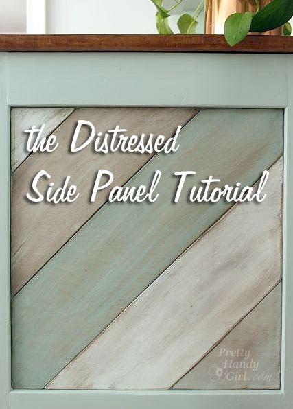 Love this cabinet detail! The Painted Distressed Wood Panel Tutorial - Pretty Handy Girl