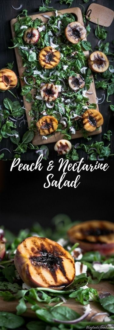 This nectarineand peach salad is perfect for the summer. It's fresh, it's vibrant and it's so easy to alter to your liking. And it's so easy to prepare you could legitimately do it blindfolded.