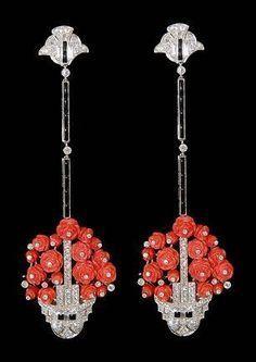 Platinum diamond,onyx and coral flower basket earrings. ART DECO ERA