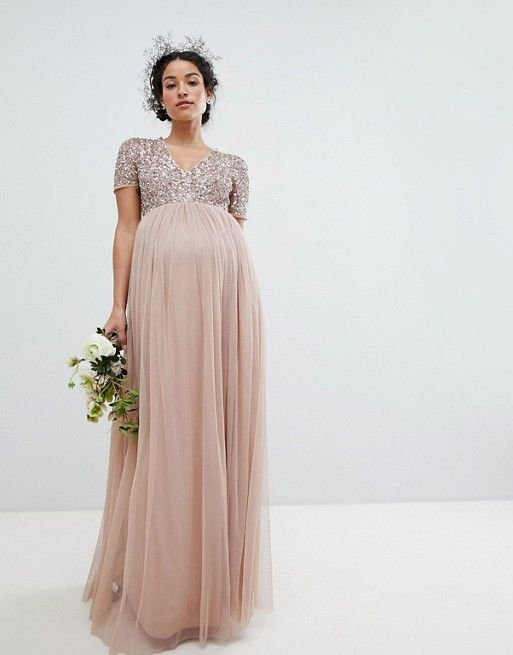 ea53b537576c5 Maya Maternity | Maya Maternity V Neck Maxi Tulle Bridesmaid Dress with  Tonal Delicate Sequins