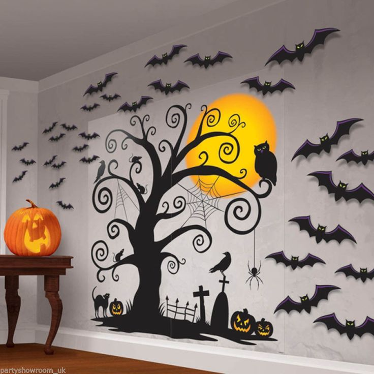 Halloween Mega Party CREEPY TREE Scene Setter Silhouette Art Decoration Kit PS | eBay