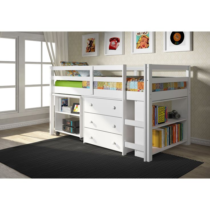 Donco Kids Low Study Loft Desk Bed with Chest and Bookcase