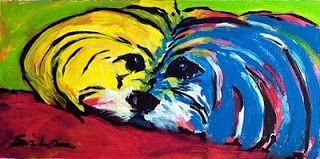 SiLa Art: POP ART MALTESE DOG - modern abstract painting by Lidija Ivanek (SiLa)