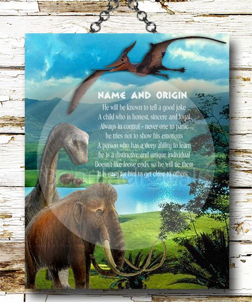 Custom and Personalized Dinosaur Name meaning print. Boys just love dinosaurs and would make a cute for a birthday or any occasion.