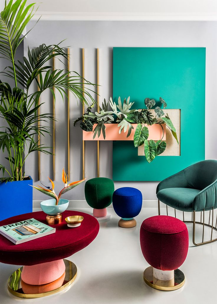 Color scheme inspiration bright colours and geometric forms used by the memphis group influenced the interior design of masquespacios studio space in