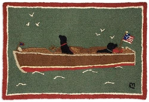 Boating Dogs Hooked Wool Accent Rug for your seaside or lakeside home.