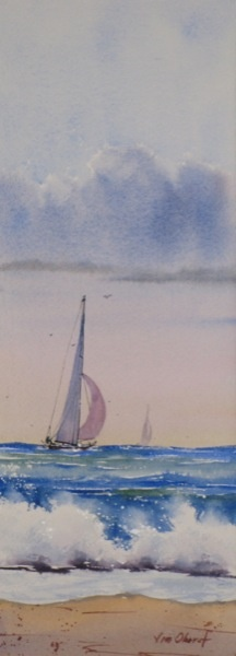 "In Pursuit - 15x5.5"" original watercolor painting by Jim Oberst - $100."