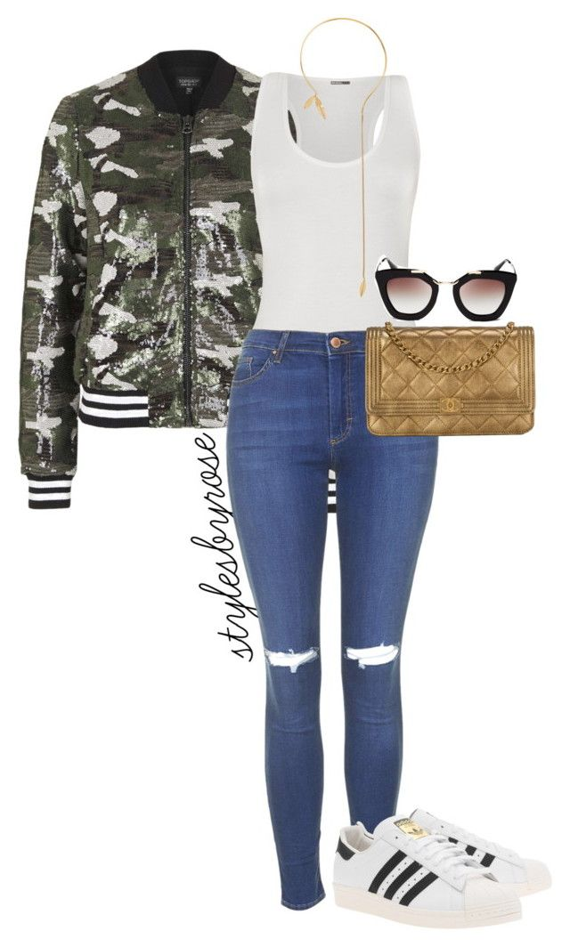 """""""Sequins Bomber"""" by rossyjavier ❤ liked on Polyvore featuring Topshop, WearAll, adidas Originals, Chanel, Jorge Morales and Prada"""