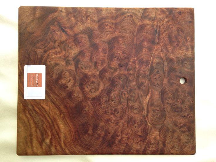 Camphor burl wood cutting board:  33 cm x 28cm x 1cm