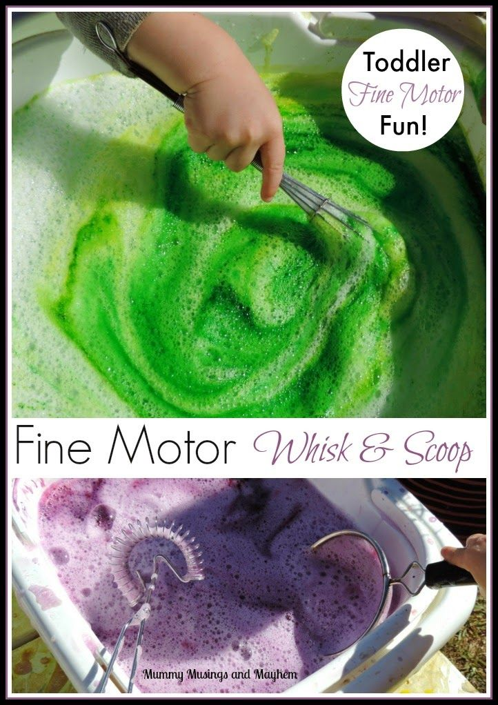 Toddler Fine Motor fun with whisks and sieves - an easy activity to strengthen those fine motor muscles and control. Find out more on Mummy ...
