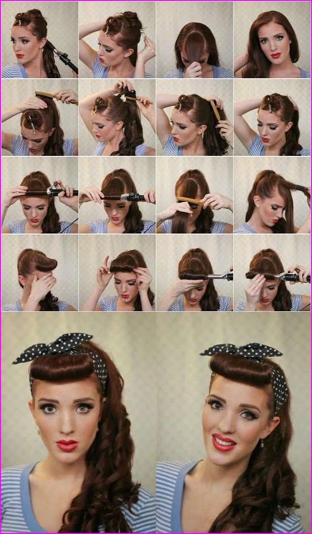 Cute Updo Hairstyles For Sports Promhairstylesforlonghair In 2020 Scarf Hairstyles 50s Hairstyles Long Hair Styles