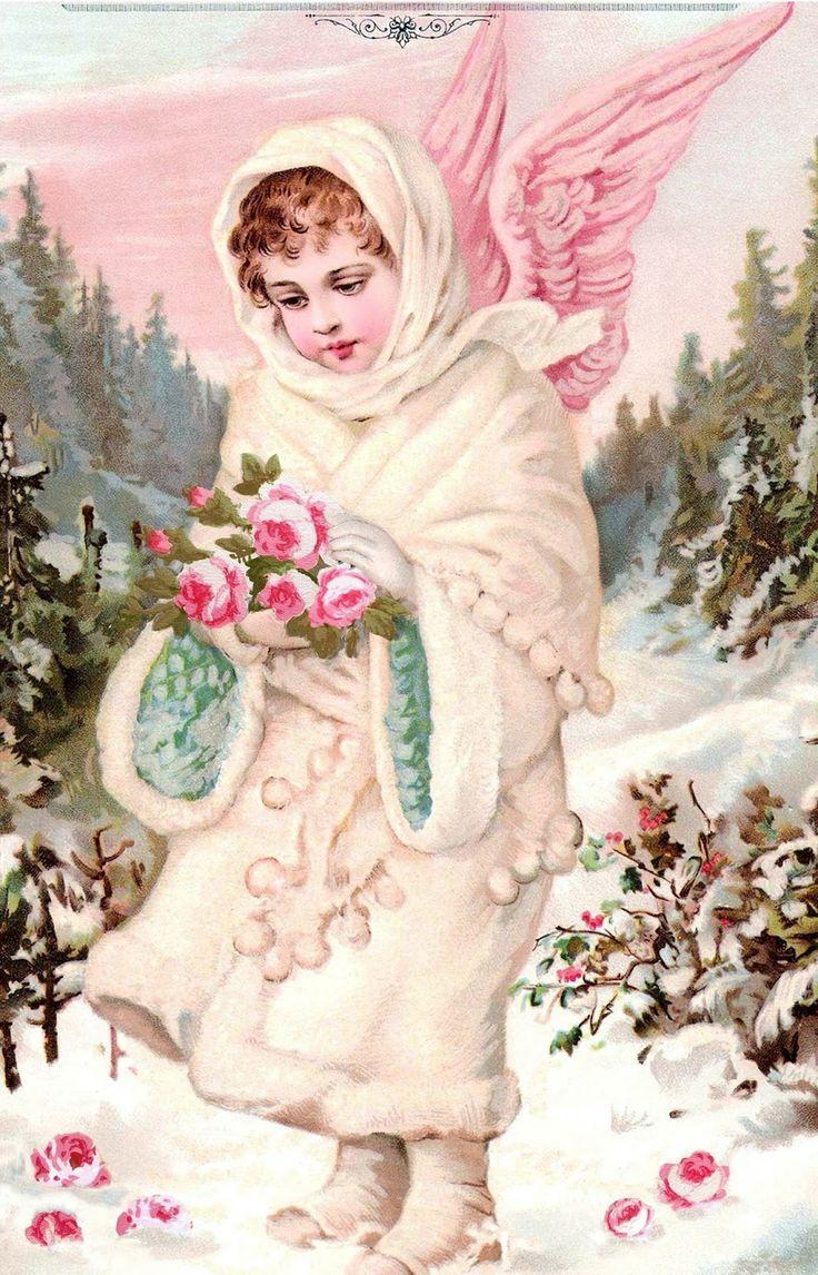 Картинки ретро с ангелочки зимним православный