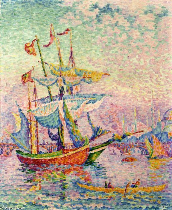 Le Corne d Or, Le Pont, huile sur toile de Paul Signac (1863-1935, France)