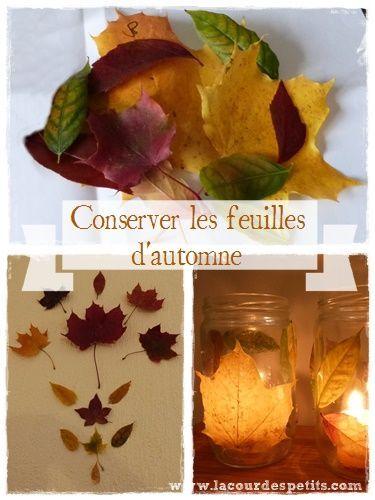 2 astuces pour conserver les feuilles d 39 automne et bricoler avec bricolages d 39 automne. Black Bedroom Furniture Sets. Home Design Ideas