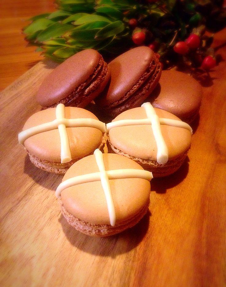 Hot Cross Bun macarons and chocolate Easter egg macarons