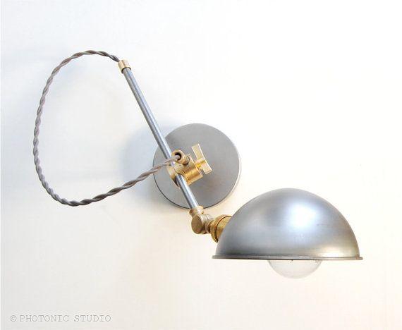 "Wall Lamp - Sconce -  Bedside Lamp - Adjustable Extension Boom Light - Articulating Industrial Brass & Steel Scissor Lamp -  the ""Bonwit"""
