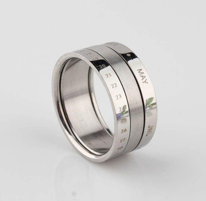 Dubbele lagen maand draaibaar titanium staal de ring o mannen sieraden trouwringen voor vrouwen