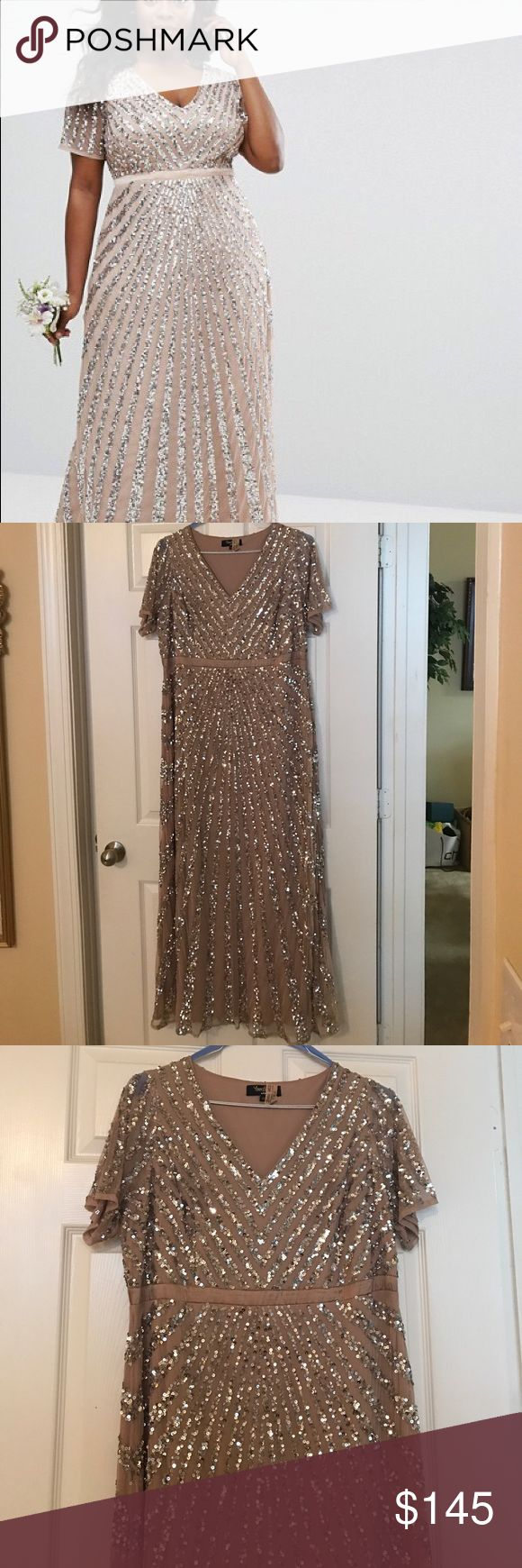 """blush sequin/beaded bridesmaid dress only worn this beautiful Asos sequin dress one time in a wedding!  Very comfortable and modest style.  Has a tan/blush tint of color with flattering silver sequin pattern all over!  Has been hemmed to my height (~5'2 // 5'3"""").  Sizing is European and can easily be taken in! Lovedrobe Dresses"""