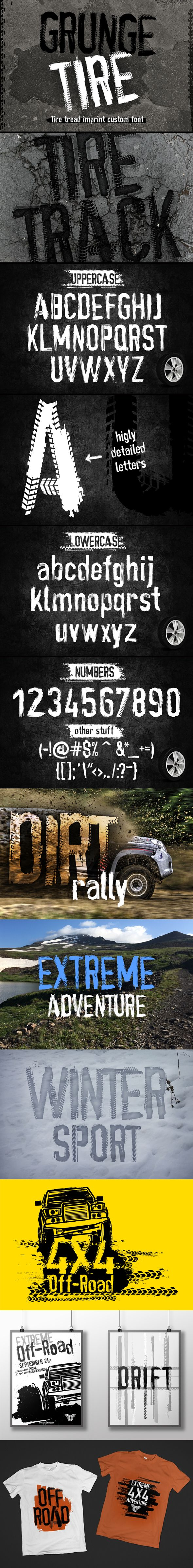#Grunge Tire #Font - Grunge #Decorative