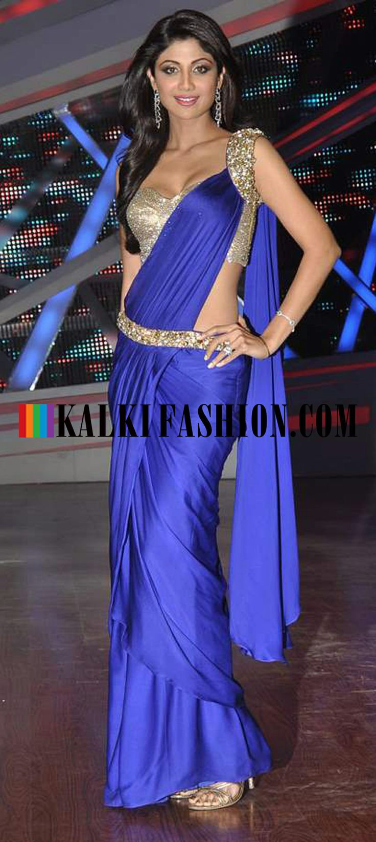 http://www.kalkifashion.com/ Shilpa Shetty in a electric blue gown saree with embroidered blouse on the set of Nach Baliye
