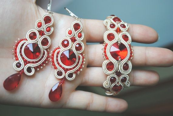 BRIDAL red and beige soutache set Bracelet and by rodicasoutache