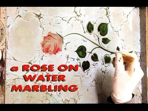 Beautiful Painting on Water Marbling Rose, Ebru Sanatı Gül Yapımı, Wasse...