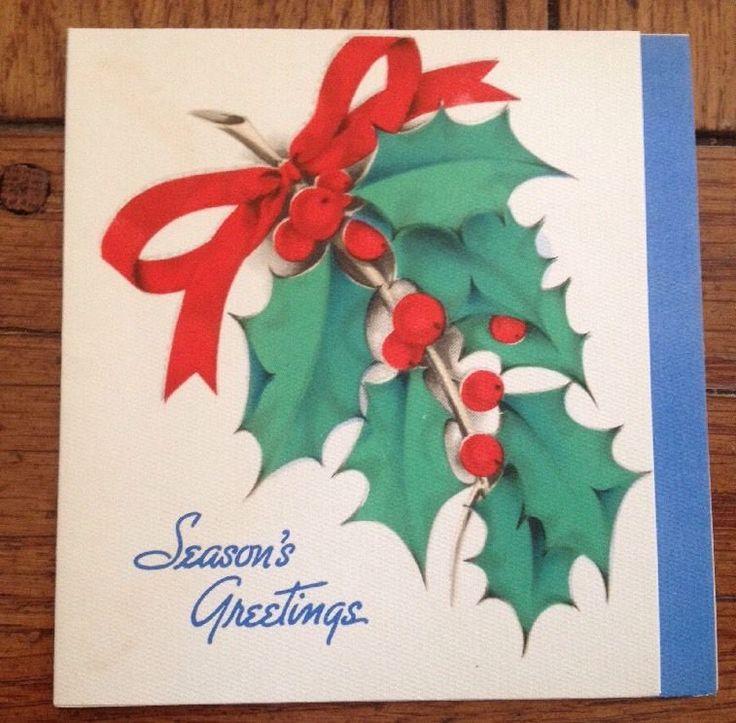Vintage Hallmark Greeting Card Christmas Holly Berry Sprig USA | eBay