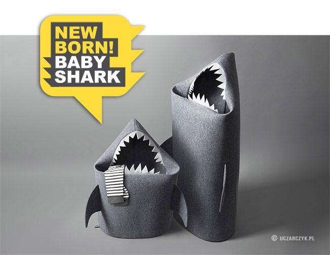 New born Baby SHARK!  Felt kids toy basket. Fun storage for kids rooms from Uczarczyk.