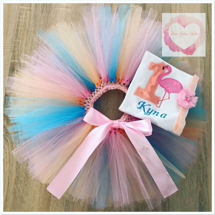 Embroidered flamingo tutu set