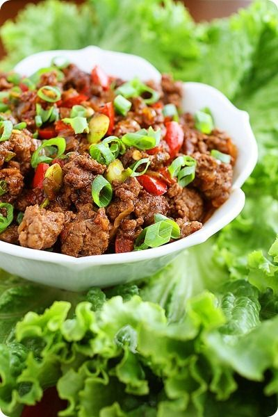 Asian Beef Lettuce Wraps Recipe - Matt's mom made these for us over the holidays and they were awesome!
