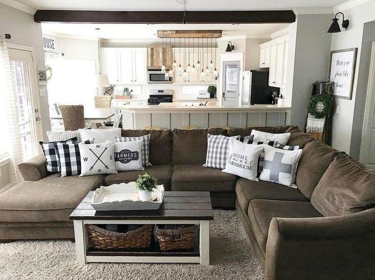 Unique Beautiful Cozy Farmhouse Living Room Decor Ideas 24 Living Room Decor Brown Couch Brown Couch Living Room Brown Living Room Decor