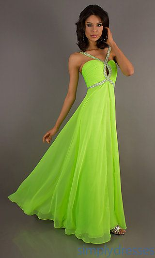 Long A-Line Neon Green Dress at SimplyDresses.com