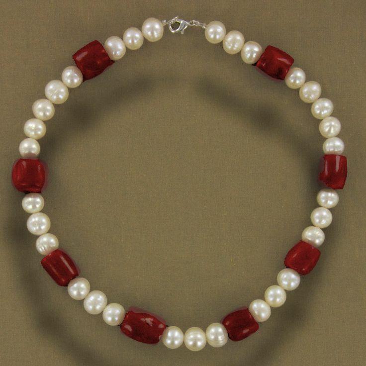 Collier corail rouge et perle de culture