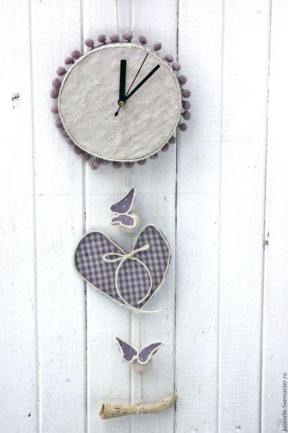 Часы для дома ручной работы. Ярмарка Мастеров - ручная работа. Купить Часы и бабочки. Handmade. Сиреневый, настенные часы
