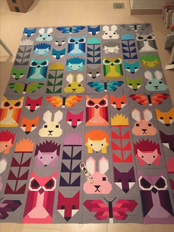Fancy Forest Quilt Top made of Kona Cotton only