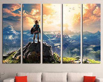 Legend of Zelda: Breath of the Wild - Video Game Print - Nursery Decor - Zelda Large Canvas Print - Nintendo Large Art Print