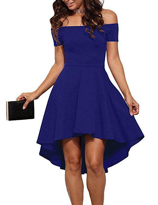 ZJCTUO Damen Schulterfreies Kleid Elegant Skaterkleid Kurz Cocktailkleid  Asymmetrisch Abenkleid Festlich Partykleid (36, Königsblau 88935888c2