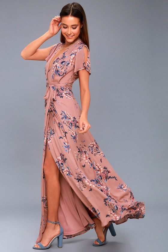 ccfa17cd22c Add some romance to your everyday look in the Fiorire Rusty Rose Floral  Print Wrap Maxi Dress! Ultra-soft