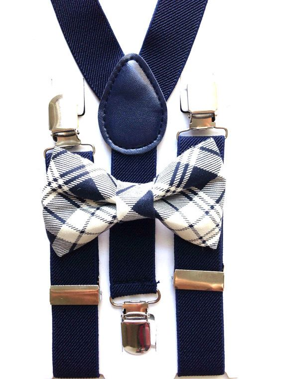 Navy Blue Suspenders + Plaid Bow Tie