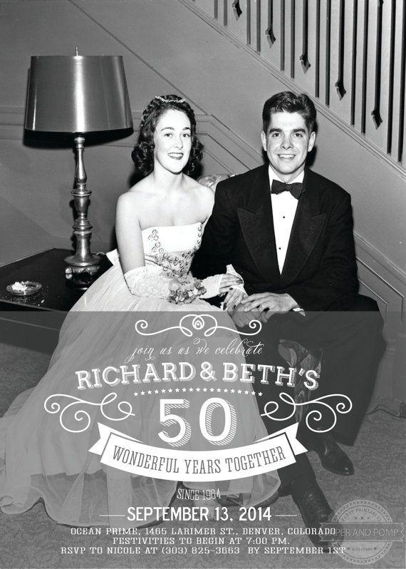 Anniversary Invitation Milestone 25th 50th 60th by PaperandPomp