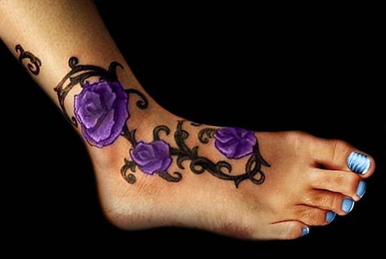 There is no purple rose but for the tattoo, every rose can be change in whatever color you like. This cool color rose be with your step.