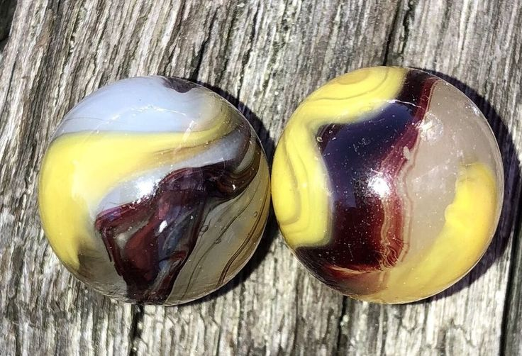 Vintage Marbles Pair Of 2 Akro Agate Egg Yolk Oxblood