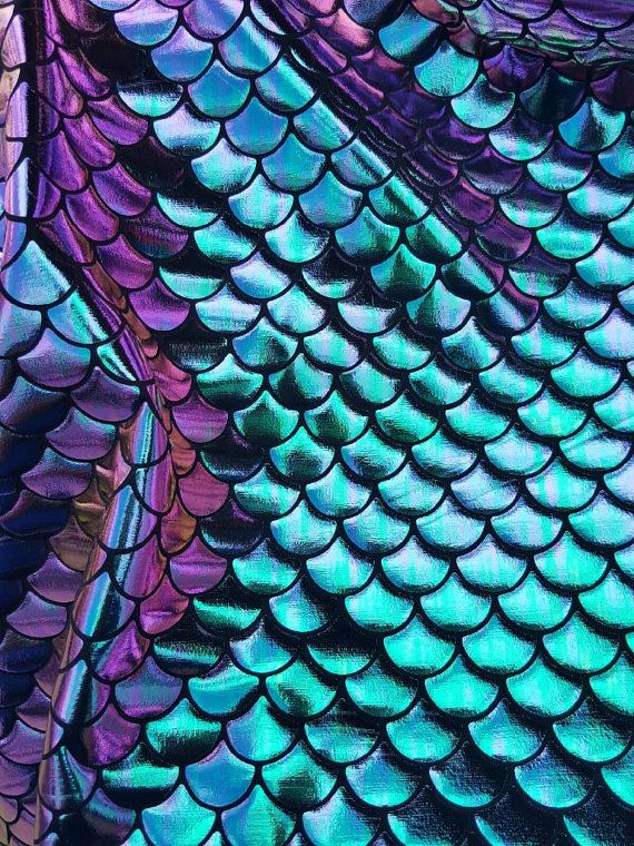 New Fish Scales Mermaid Two Tone Spandex Fabric Sold by Yard {Green/Purple - MultiColor on Black} Mermaid Fabric