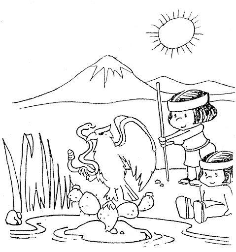 Aguila devorando a una serpiente para colorear cultura for Sillas para colorear