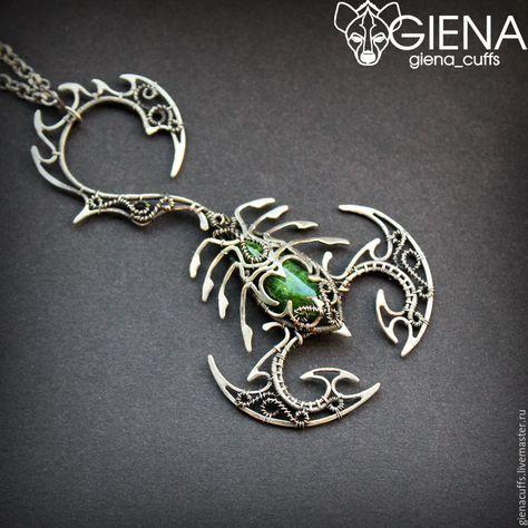 Купить Кулон - тёмно-зелёный, плетение, wire wrap, wire work, giena, украшение на шею