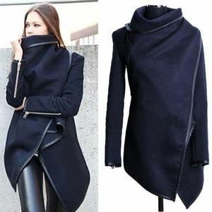 Manteau femme mi long-col cheminée- coupe asymé...