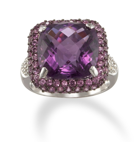 Square Amethyst and Pink Sapphire 18k White Gold Ring with Diamonds only $1,795.00 - Cocktail Rings